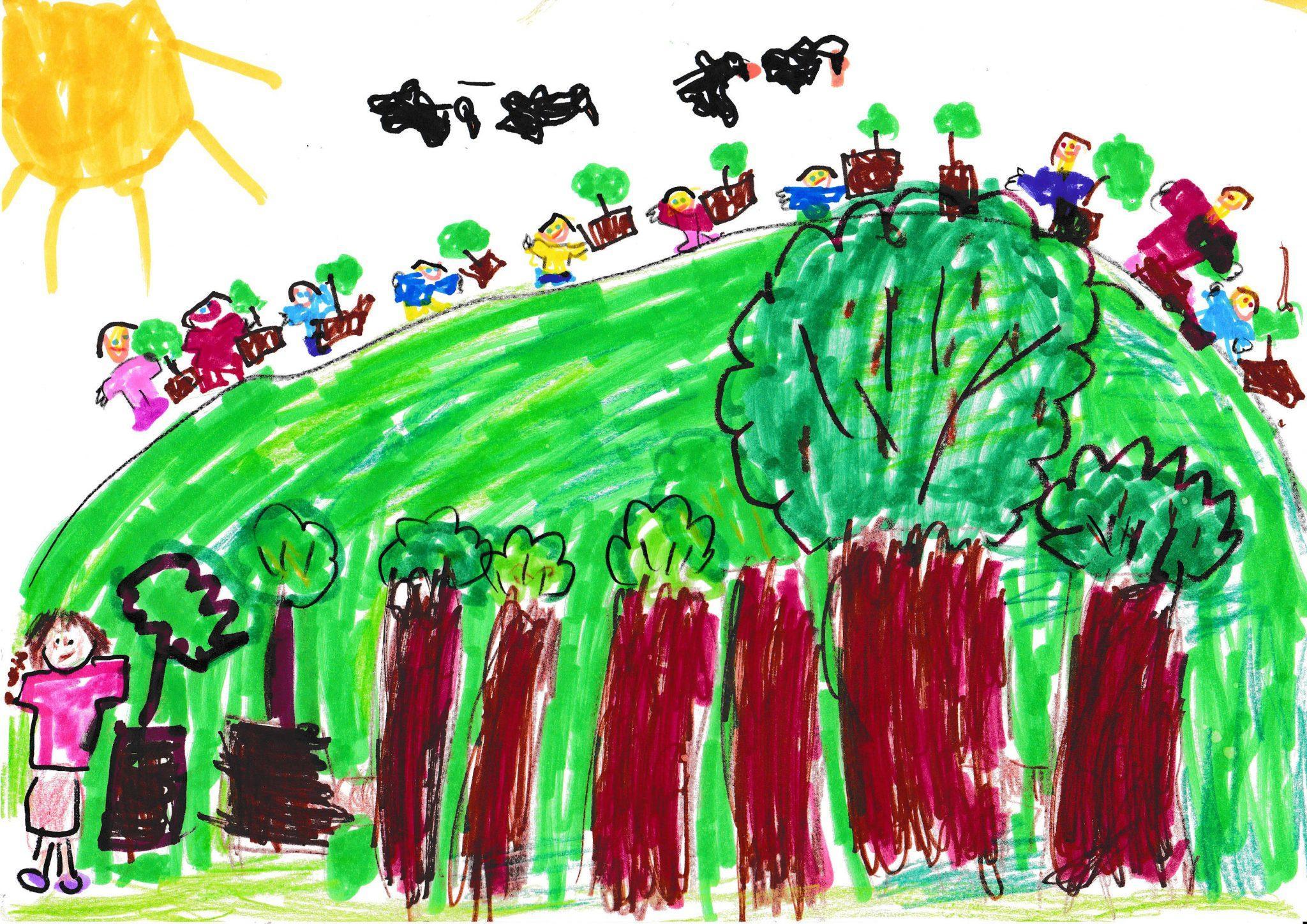Fát ültetünk hogy legyen friss levegő és a madaraknak élőhely Debreceni Szabadságtelepi Óvoda